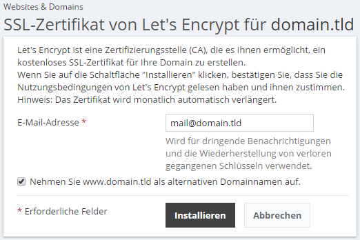 Let\'s Encrypt SSL-Zertifikate - SpaceHost - Webhosting auf SSDs