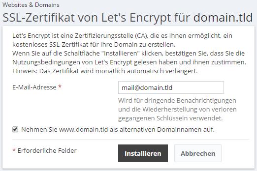 Let\'s Encrypt SSL-Zertifikate - SpaceHost - Webhosting auf SSDs