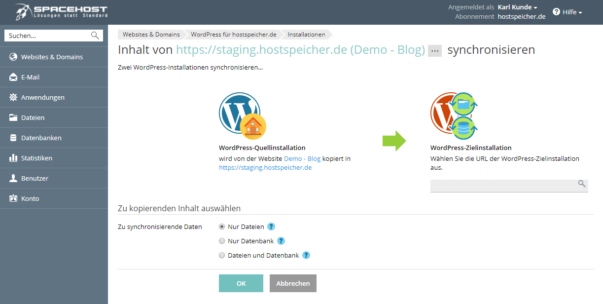 wordpress staging synchronisierung