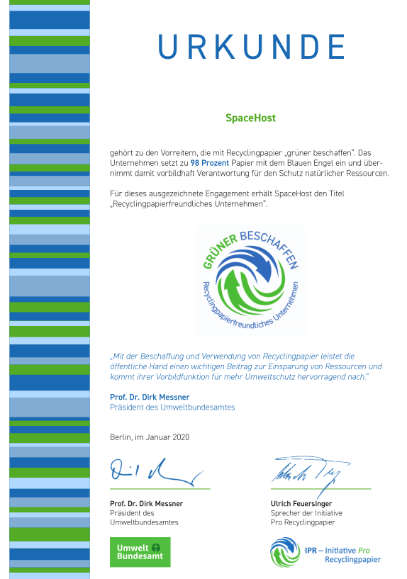 Auszeichnung Grüner Beschaffen - Recyclingpapierfreundliches Unternehmen