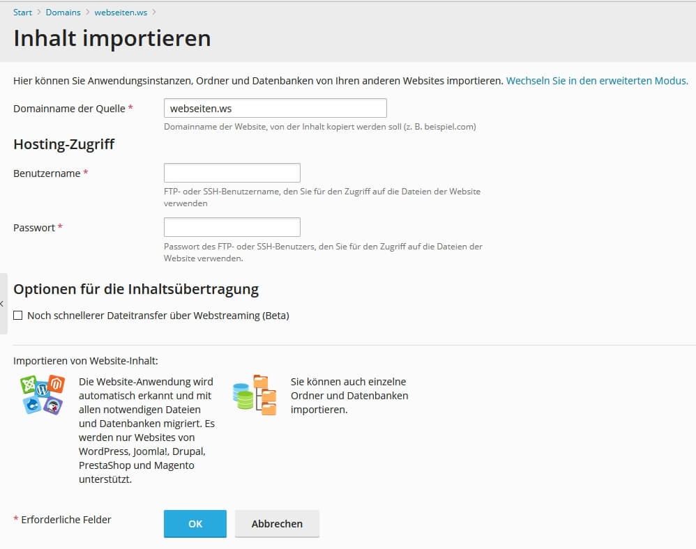 Website-Import